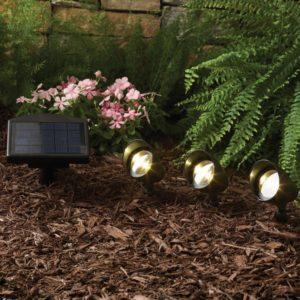 hampton bay 3 head solar spot light