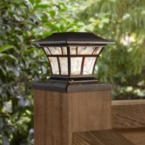 Solar Powered Outdoor Mediterranean Bronze Integrated LED 3000K Warm White Landscape Post Cap Light