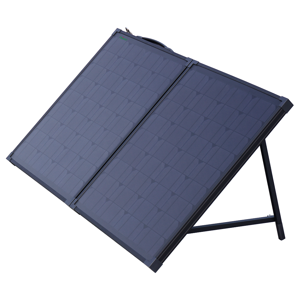 All Black Foldable Solar Panel Suitcase With Charge Controlle