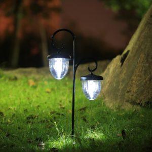 solar shepher hook twin acorn light