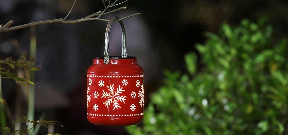 2 pack Christmas Snowflake Outdoor Solar Lanterns