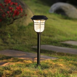 solar crackle glass lens landscape path light black