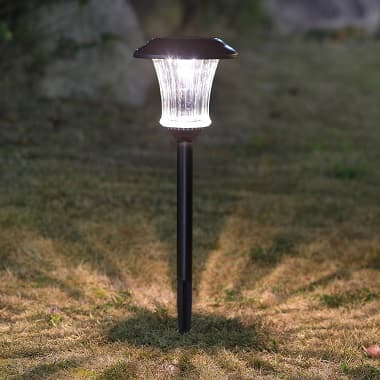 Solar LED integrated Landscape Pathway Light Black 10 luemens Glass lens