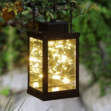 LED hanging tabletop solar lantern with firefly fairy star