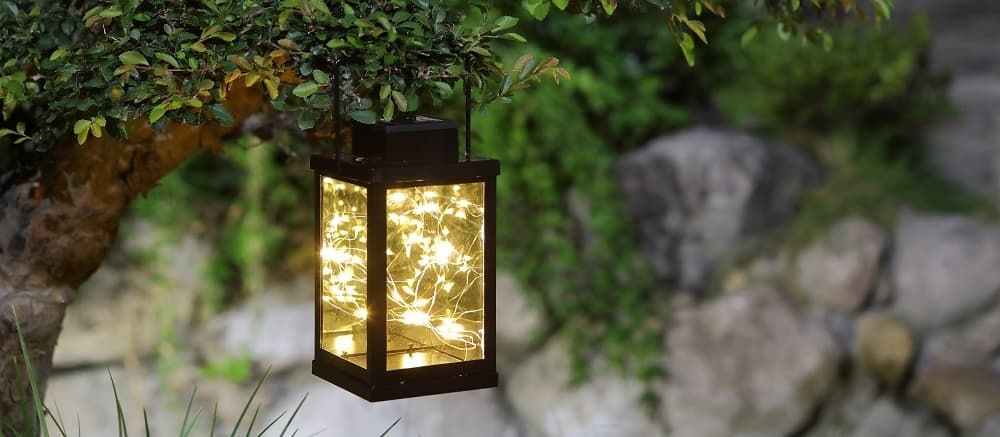 LED hanging tabletop solar lantern with firefly fair star