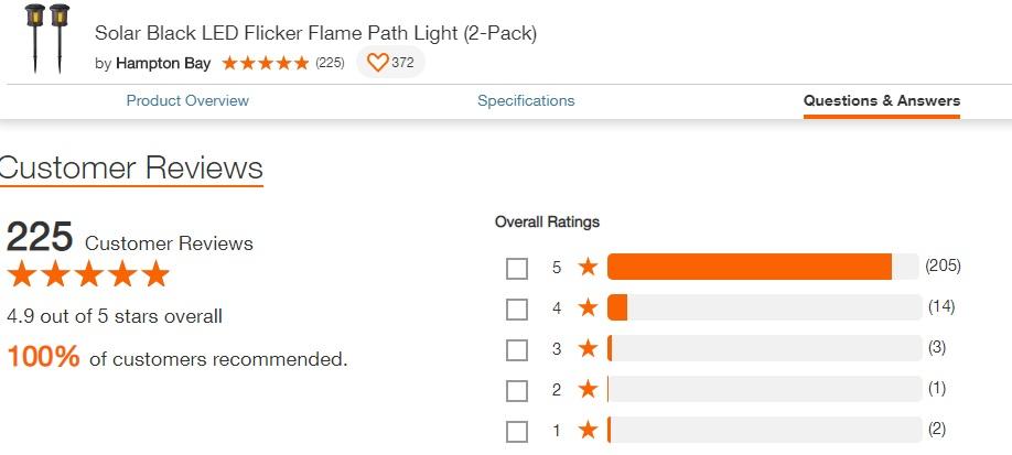 hampton bay 2 pk solar flame effect path light review