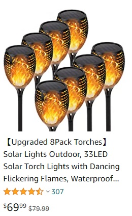 price 8 pk solar flame effect path light