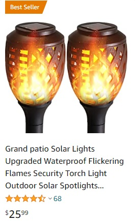 price grand patio 2 pk solar flame effect path light
