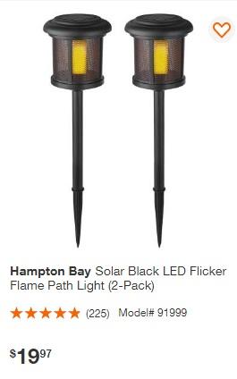 price hampton bay 2 pk solar flame effect path light