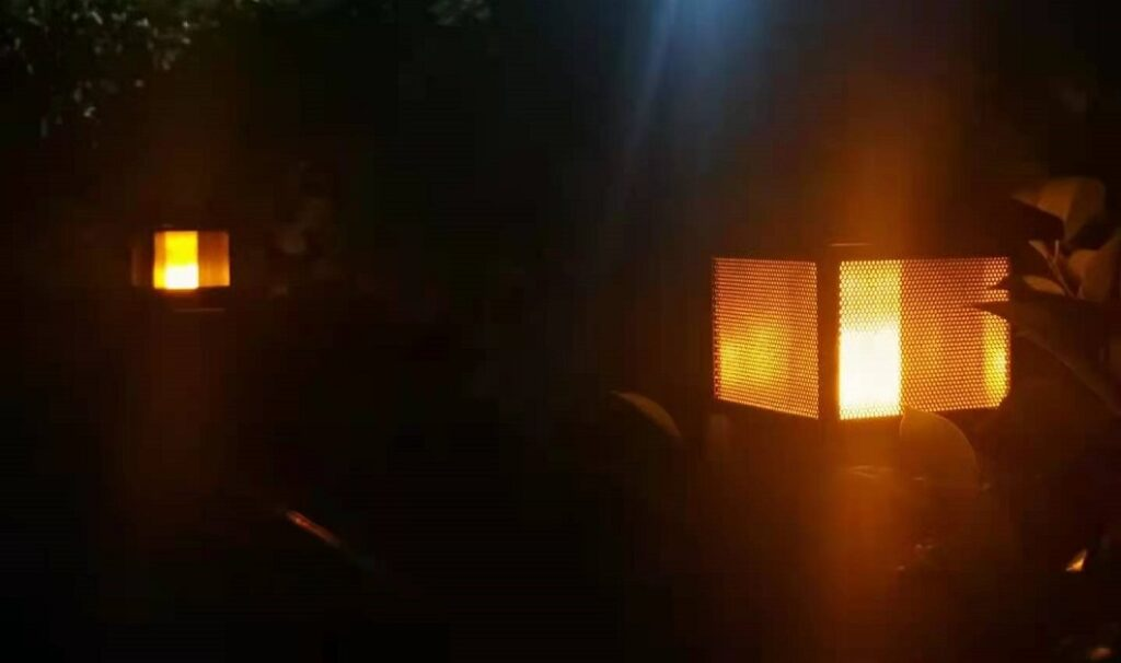flame post cap light