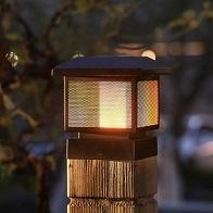 solar flicker flame post cap light 196