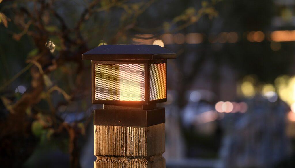 solar post cap flicker flame light heading