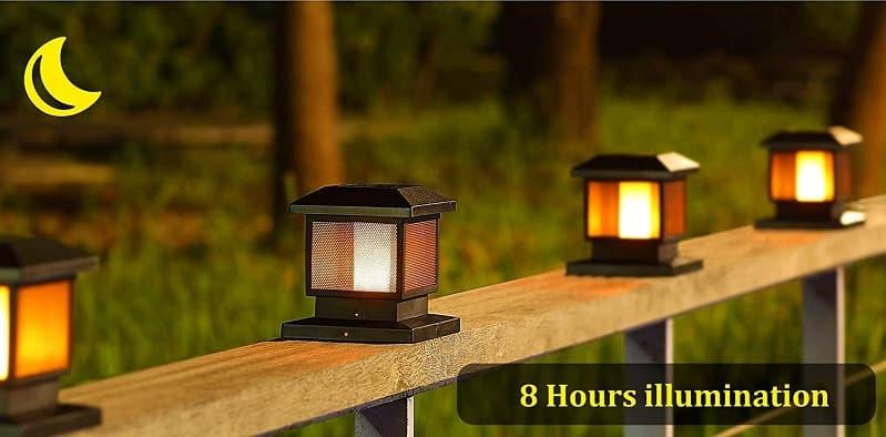 solar black LED flicker flame post path light